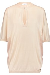 Vionnet Gauze Paneled Knitted Top Nude