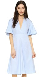 Shakuhachi Frenchy Flared Back Shirt Dress Light Blue
