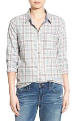 Treasure And Bond Women's Plaid Single Pocket Shirt Grey Heather Cloudy Check