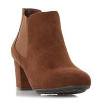 Linea Oma Block Heel Ankle Boots Brown