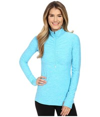 New Balance In Transit 1 2 Zip Top Bayside Heather Women's Long Sleeve Pullover Blue