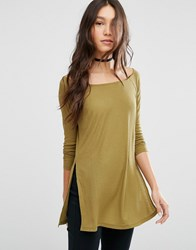 Asos Off Shoulder Top Slouchy Top With Side Splits Khaki Green