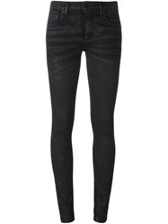 Off White Embroidered Skinny Jeans Black