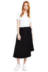 Y's Layered Wrap Skirt Black