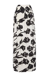 Blumarine Long Floral Cotton Skirt White