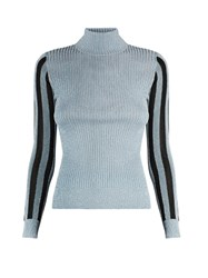 House Of Holland High Neck Metallic Sweater Black Blue