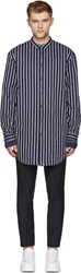 Juun.J Navy Oversized Striped Shirt