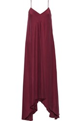 Tibi Sandwashed Silk Maxi Dress Burgundy