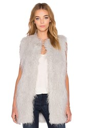1. State Faux Fur Long Jacket Vest Blue