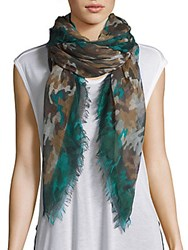 Franco Ferrari Printed Cashmere And Wool Scarf Turquoise