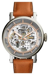Women's Fossil 'Original Boyfriend' Skeleton Chronograph Watch 38Mm Brown Rose Gold