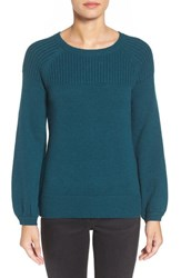 Halogenr Women's Halogen Ribbed Yoke Pullover Teal Abyss