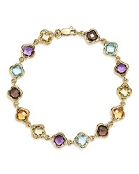 Bloomingdale's Multicolored Gemstone Large Clover Bracelet In 14K Yellow Gold Multi Gold