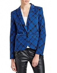424 Fifth Plaid Boyfriend Jacket Black Blue