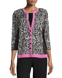 Misook Animal Print 3 4 Sleeve Jacket Black Cameo Pink