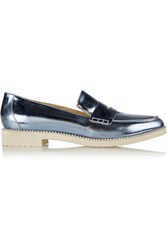 Oscar De La Renta Tenzin Embellished Metallic Leather Loafers Blue