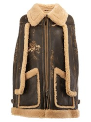 Maison Martin Margiela Distressed Shearling Cape Coat Brown