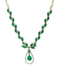 Effy Brasilica .9Tcw Diamond Emerald And 14K Yellow Gold Floral Pendant Necklace