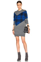 Thakoon Addition Plaid Combo Dress In Gray Checkered And Plaid Blue