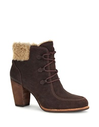 Ugg Analise Sheepskin Lined Leather Booties Brown