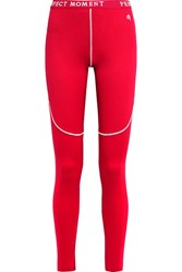 Perfect Moment Stretch Jersey Ski Leggings Red