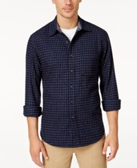 Club Room Men's Big And Tall Long Sleeve Check Shirt Only At Macy's Vibrant Navy