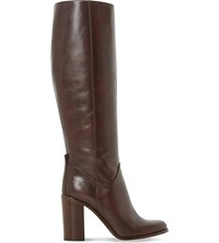 Dune Black Rana Knee High Leather Boots Dark Brown Leather