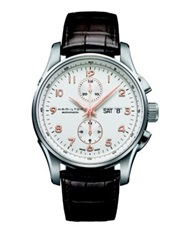Hamilton Jazzmaster Maestro Auto Chrono Stainless Steel And Embossed Leather Strap Watch Brown Silver