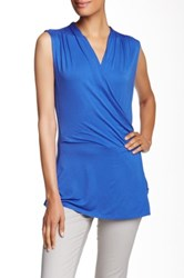 Laundry By Shelli Segal Sleeveless Surplice Blouse Blue