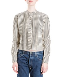 Loewe Striped Band Collar Blouse Black White White Black