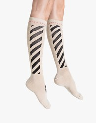 Off White Diagonal Shiny Socks Gold Black