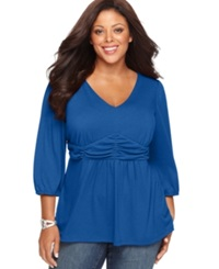 Ny Collection Plus Size Three Quarter Sleeve Ruched Empire Waist Top Olympian Blue