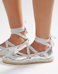 Asos Justice Lace Up Ballet Espadrilles Silver