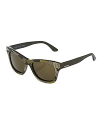Marchon Eyewear Crystal Encrusted Square Acetate Sunglasses Camouflage Army