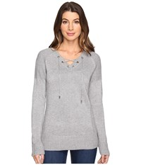 Calvin Klein V Neck Lace Up Sweater Heather Granite Women's Sweater Gray