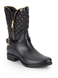 Dav Alexandria Quilted Patent Booties Black