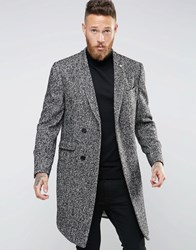 Noose And Monkey Salt Pepper Overcoat With Concealed Placket Charcoal Grey