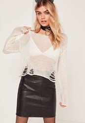 Missguided Distressed Ladder Jumper Cream Ivory