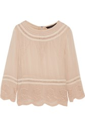 W118 By Walter Baker Chloe Embroidered Crepe Blouse Beige