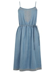 Oasis Embroidered Cami Dress Light Wash