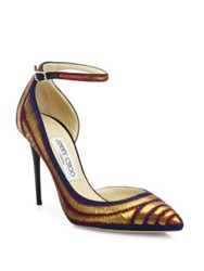 Jimmy Choo Lucy Metallic Pailettes Ankle Strap D'orsay Pumps Gold Multi