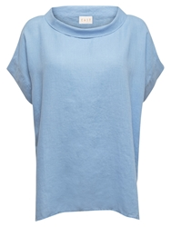 East Linen Bardot Neck Top Sky Blue