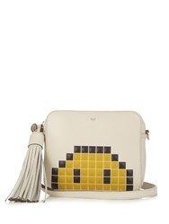 Anya Hindmarch Pixel Smiley Leather Cross Body Bag Grey Multi