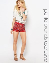 Glamorous Petite Mirrored Embroidery Tailored Short Co Ord Multi