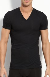 Calvin Klein Men's 'U5563' V Neck Micromodal T Shirt Black