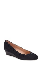 French Sole 'Occasion' Scalloped Wedge Pump Women Navy Suede