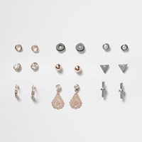 River Island Womens Rose Gold And Silver Tone Stud Earrings Pack