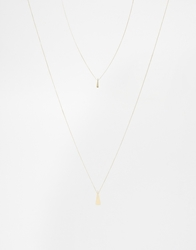 Asos Multirow Triangle Long Necklace Gold