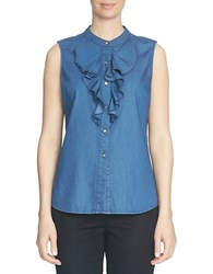 Cece Ruffle Front Sleeveless Shirt Blue