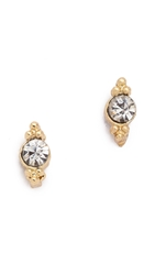 Shashi Mini Ballerina Stud Earrings Gold Clear